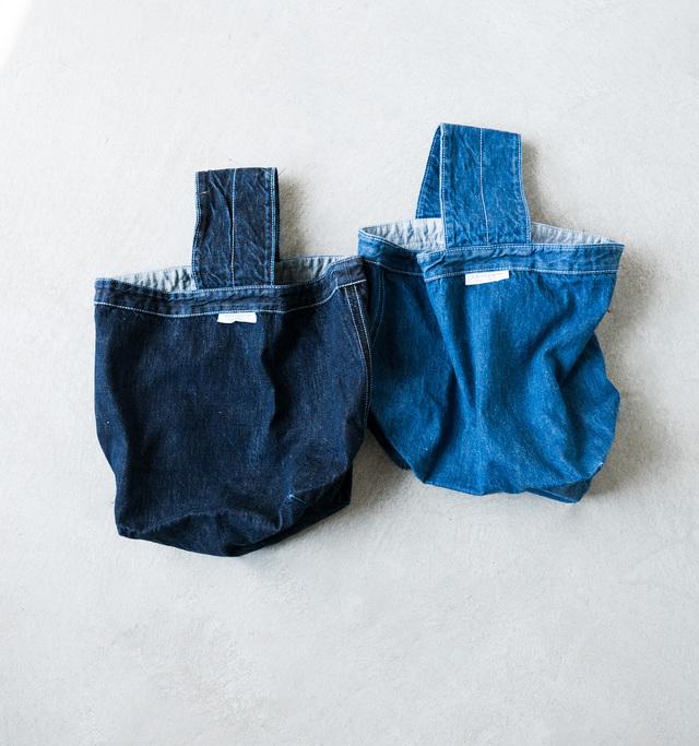 鮮やかなインディゴのデニムカラーを活かして、コーディネートのアクセントアイテムとしてもお役立ちします。お色は、春らしいヴィンテージカラーのブルーと大人っぽいシックな濃いダークブルーの2色をご用意しております。