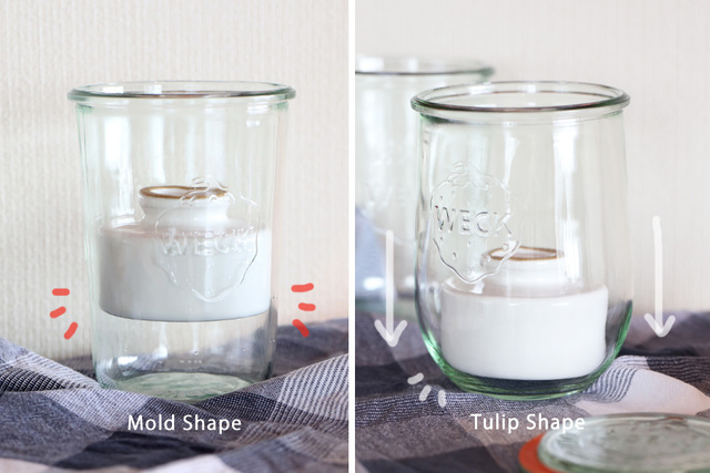 漬物石の直径は約8.5cm。 一応、ふたのサイズがLサイズのキャニスターであれば 瓶の下部がだんだんと細くなっている「Mold Shape」でも 漬物石を入れることは可能です。  しかし!「Mold Shape」だとキャニスターの形状上 瓶の途中でつかえてしまってしっかりと漬からないんです。 だから、「Mold Shape」よりも 緩やかな曲線の『Tulip Shape』(品番:WE-745)が まんべんなくしっかりと負荷がかかり、浅漬けに適しているわけです。