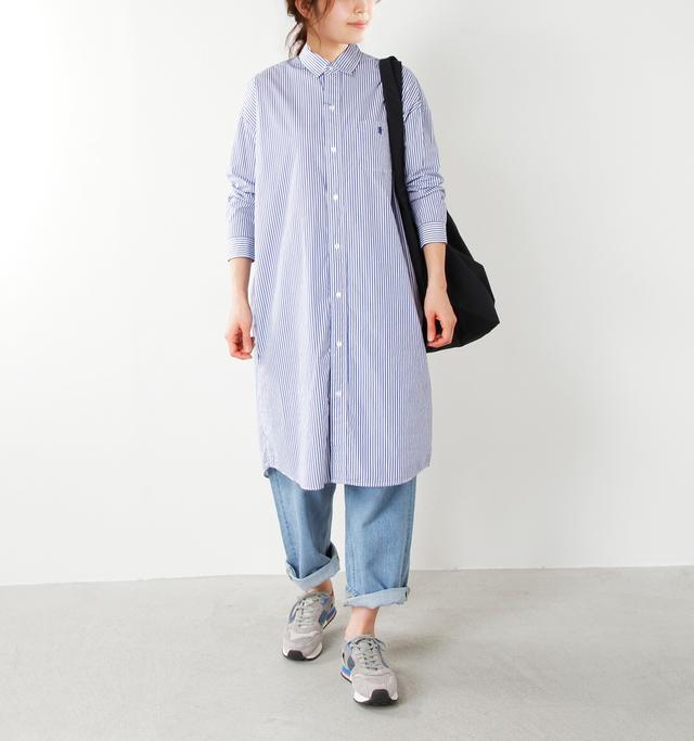 model yama:167cm / 49kg color : blue stripe / size : 12  ストライプは爽やかで清涼感ある雰囲気がありますね。