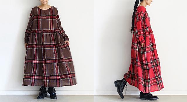 ichi Antiquités Wool Tartan Volume Dress