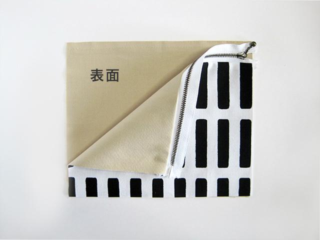 (4)反対側も同様に縫い付けます。 裏地の表面に(3)を重ねます。