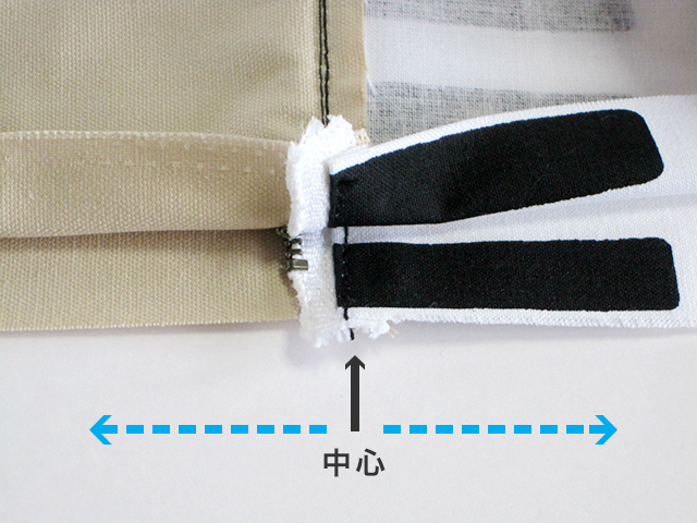 (8-2) ★ポイント 両脇は、ファスナー部分の中心を合わせ、中心部分から底側に向けて縫います。 ※この時、金具部分に針が当たらないように気をつけましょう。