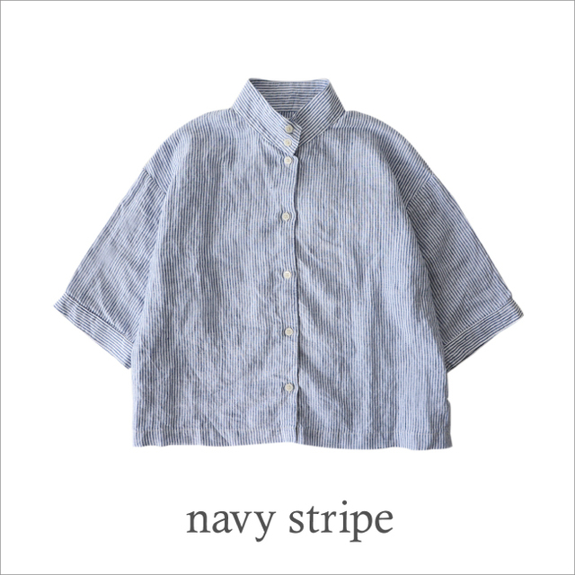 「navy stripe」は、Crouka限定の別注カラー♪ここでしか手に入らない一着になっています。リネンの透け感が、爽やかな色合いをさらに引き立てます。 ◆ただいまご予約受付中!5月上旬より順次お届けいたします。